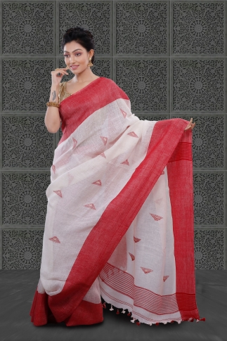 White Bengal Hand Woven Linen Saree With Plain Red Border 1