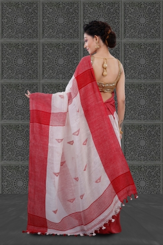White Bengal Hand Woven Linen Saree With Plain Red Border 2