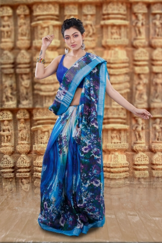Blue Bengal Hand Woven Printed Cotton Linen Saree With Plain Border