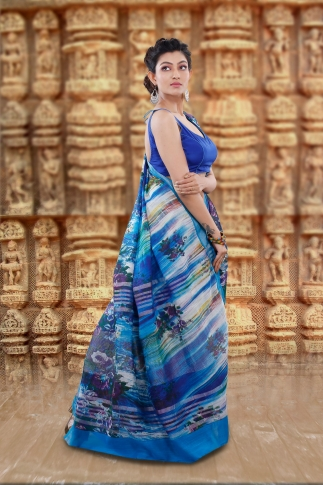 Blue Bengal Hand Woven Printed Cotton Linen Saree With Plain Border 2