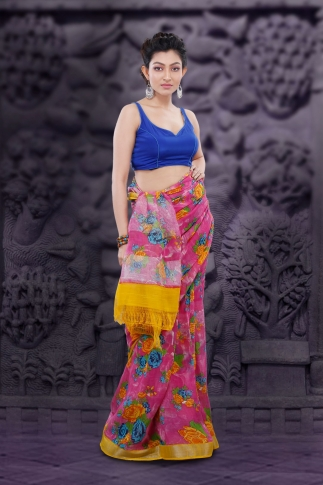 Pink Bengal Hand Woven Printed Linen Saree With Yellow Border 0