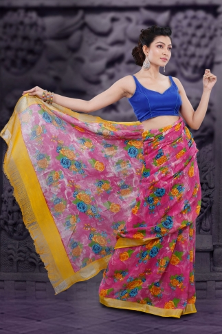 Pink Bengal Hand Woven Printed Linen Saree With Yellow Border 2