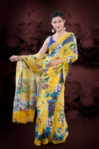 Yellow Bengal Hand Woven Printed Cotton Linen Saree With Plain Border