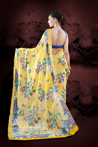 Yellow Bengal Hand Woven Printed Cotton Linen Saree With Plain Border 2