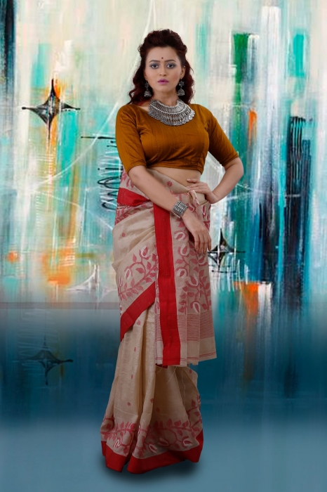 Beige Bengal Hand Woven Tussar Silk Saree With Red Border