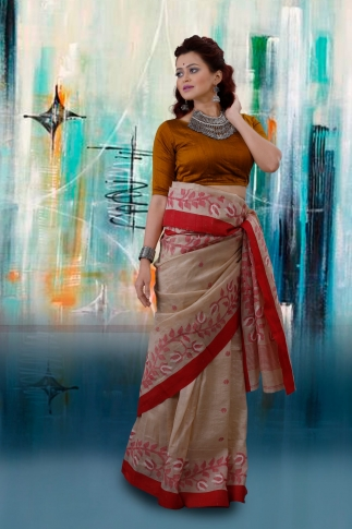 Beige Bengal Hand Woven Tussar Silk Saree With Red Border 1
