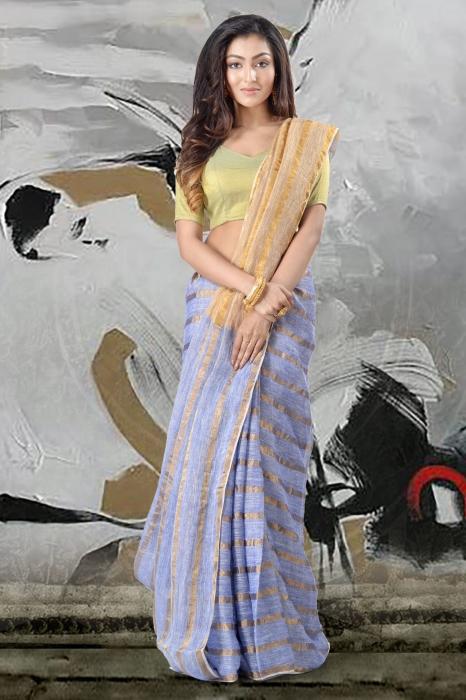 Blue Linen Saree With Zari Work