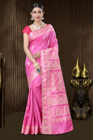 Pure Silk Baluchari Handloom Saree In Pink