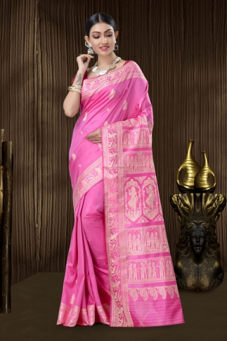 Pure Silk Baluchari Handloom Saree In Pink 1