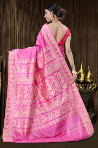 Pure Silk Baluchari Handloom Saree In Pink 2
