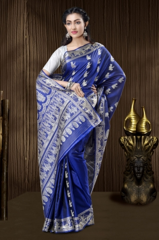 Pure Silk Baluchari Handloom Saree In Navy Blue