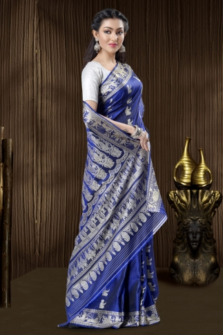 Pure Silk Baluchari Handloom Saree In Navy Blue 1