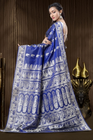Pure Silk Baluchari Handloom Saree In Navy Blue 2