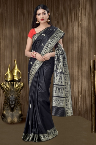 Pure Silk Baluchari Handloom Saree In Black