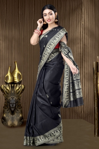 Pure Silk Baluchari Handloom Saree In Black 1