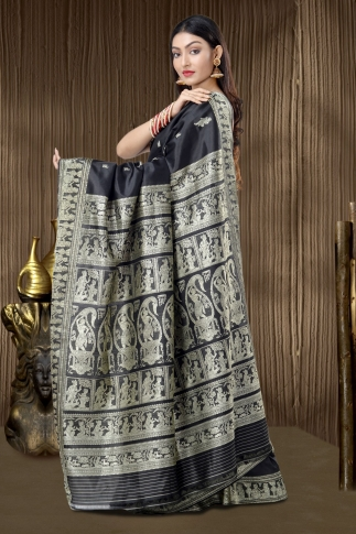 Pure Silk Baluchari Handloom Saree In Black 2