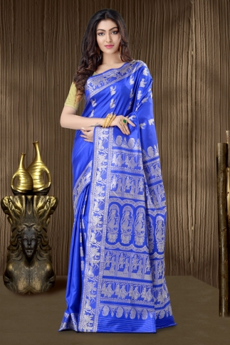 Pure Silk Baluchari Handloom Saree In Royal Blue