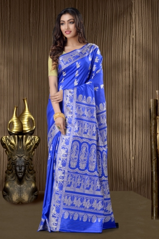 Pure Silk Baluchari Handloom Saree In Royal Blue 1
