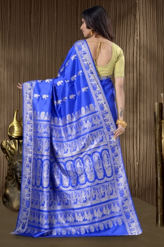 Pure Silk Baluchari Handloom Saree In Royal Blue 2