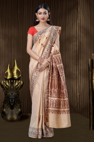 Pure Silk Baluchari Handloom Saree In Beige 0