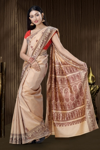 Pure Silk Baluchari Handloom Saree In Beige 1