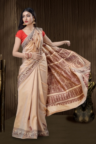 Pure Silk Baluchari Handloom Saree In Beige 2