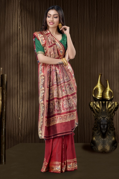Pure Silk Baluchari Handloom Saree In Red