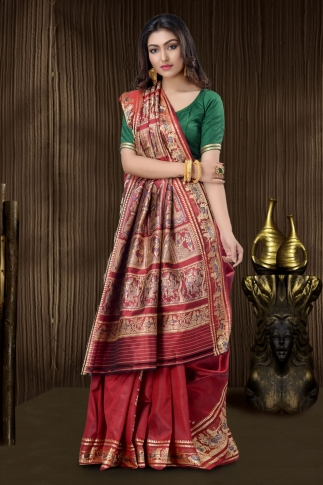 Pure Silk Baluchari Handloom Saree In Red 1