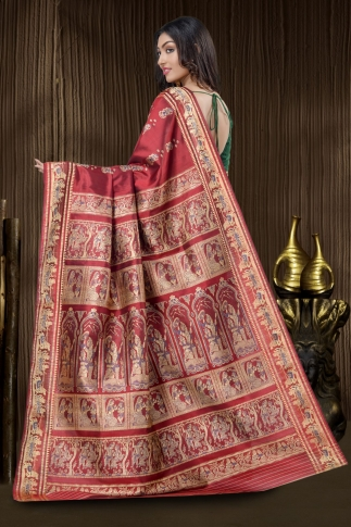 Pure Silk Baluchari Handloom Saree In Red 2