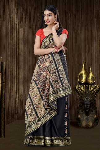 Black Baluchari Handloom Saree With Weaving 0