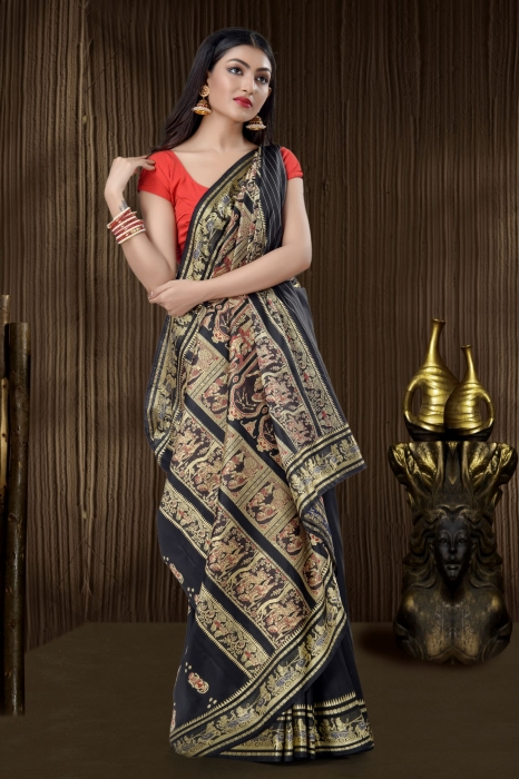 Black Baluchari Handloom Saree With Weaving 1