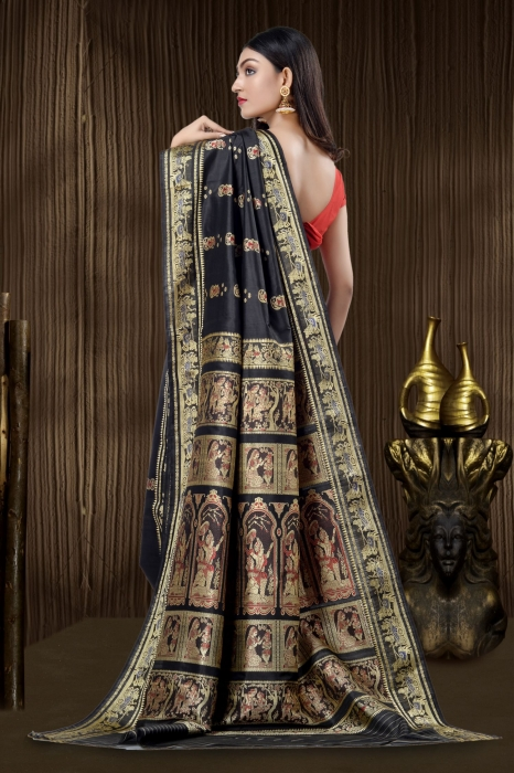 Black Baluchari Handloom Saree With Weaving 2