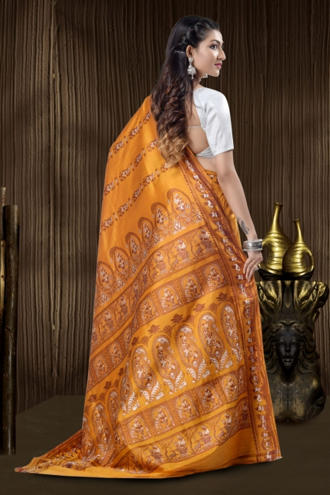 Ocre Yellow Baluchari Handloom Saree With Weaving 2