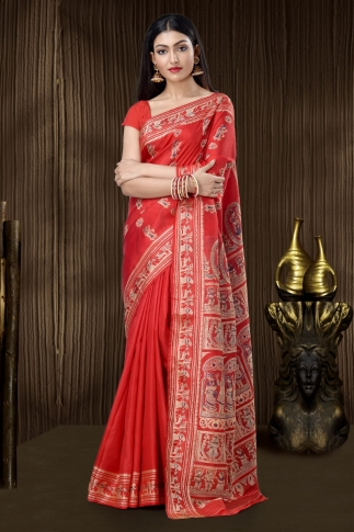 Scarlet Red Baluchari Handloom Saree With Weaving