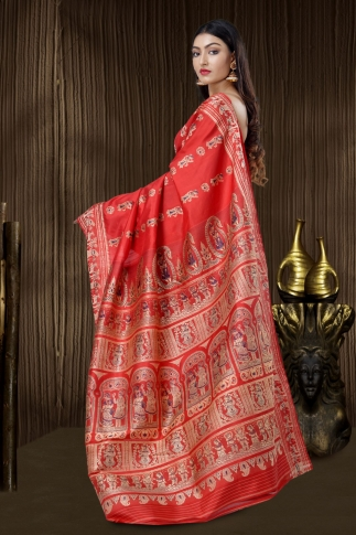 Scarlet Red Baluchari Handloom Saree With Weaving 1