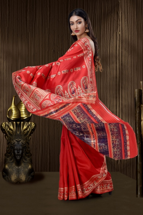 Scarlet Red Baluchari Handloom Saree With Weaving 2