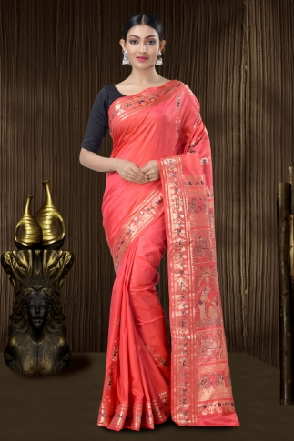 Pink Baluchari Saree With Weaving