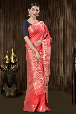 Pink Baluchari Saree With Weaving 1