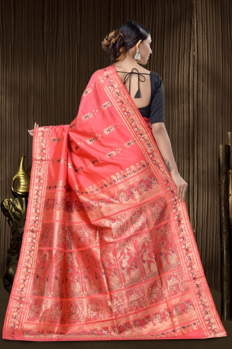Pink Baluchari Saree With Weaving 2