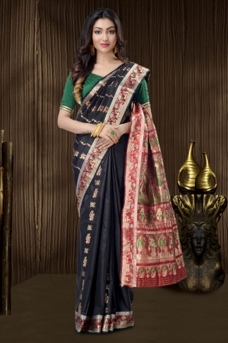 Black Baluchari Saree With Weaving