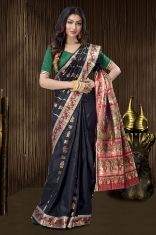 Black Baluchari Saree With Weaving 1