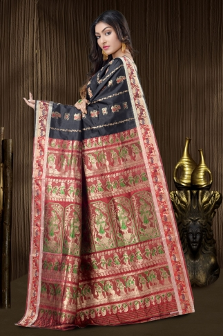 Black Baluchari Saree With Weaving 2