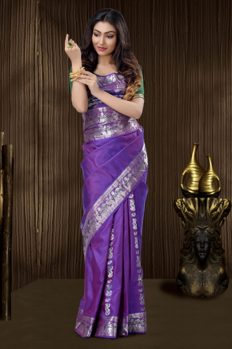 Purple Baluchari Saree With Weaving