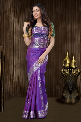 Purple Baluchari Saree With Weaving 1