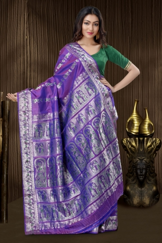 Purple Baluchari Saree With Weaving 2