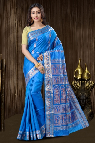 Blue Baluchari Saree With Weaving