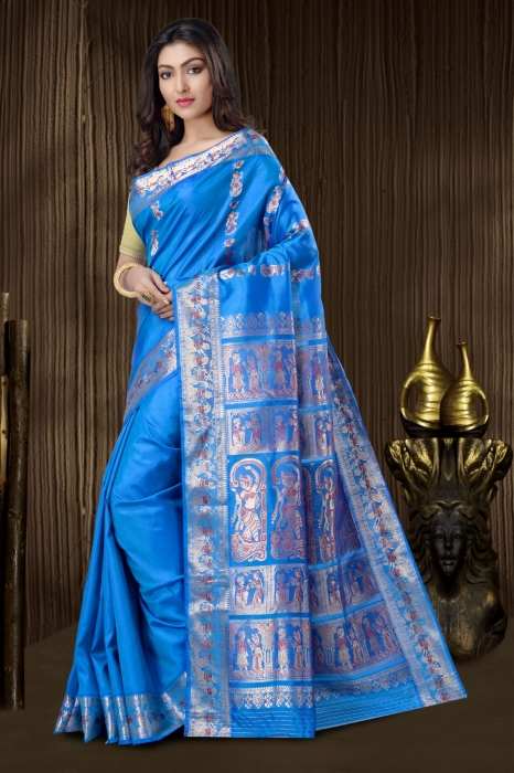 Blue Baluchari Saree With Weaving 1