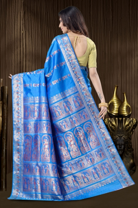 Blue Baluchari Saree With Weaving 2