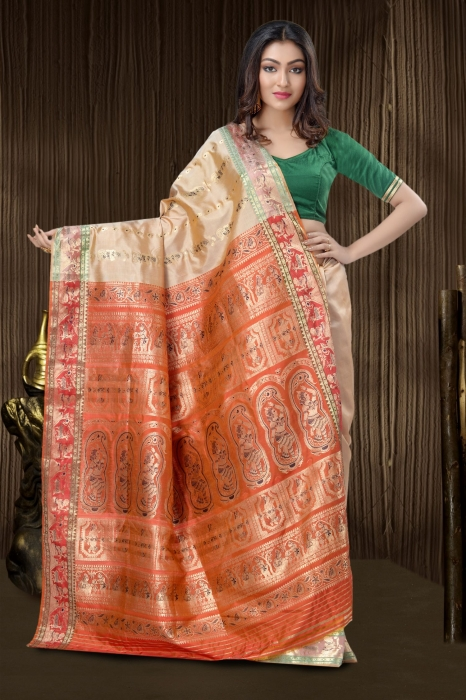 Beige Baluchari Saree With Weaving 0