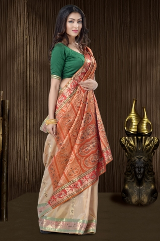 Beige Baluchari Saree With Weaving 1